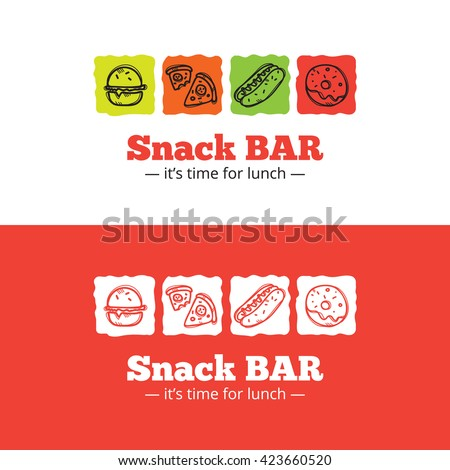 trendy snack bar logo in doodle style. Sketchy cafe logo - stock photo