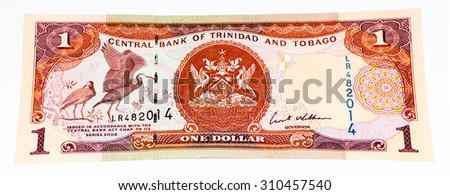 1 Trinidad and Tobago dollar bank note. Trinidad and Tobago is the national currency of this country - stock photo