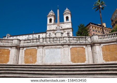 Trinit�  dei Monti seen from Piazza di Spagna. Rome, Italy. - stock photo