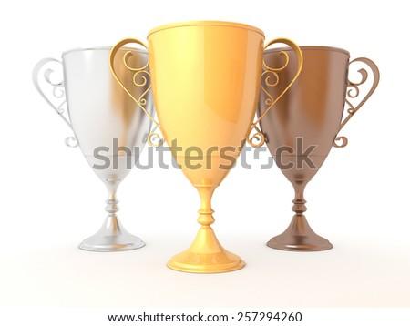 3 trophys on white background - stock photo