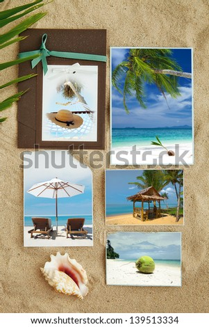 Tropic beach theme collage composed of few photos - stock photo
