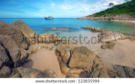 "Tropical paradise islands, view Ultimate Marvel pretty ""Plaileam Beach"" clear water against blue sky, Koh Samui Thailand islands, panoramic view - stock photo"