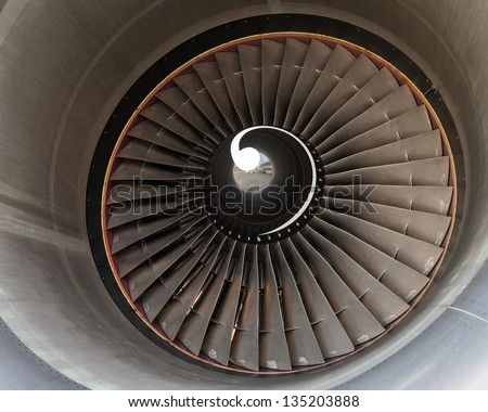 turbine blades of aircraft jet engine. - stock photo
