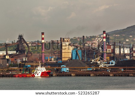 Turkey - June 9 ,2014 :Zonguldak, Erdemir iron and steel factory. Erdemir, Turkey's largest iron and steel is one of the plants.