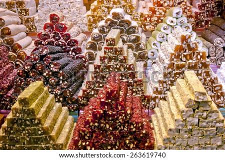 Turkish delight on Spice Bazaar Istanbul - stock photo