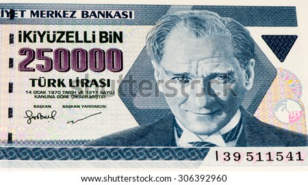 250000 Turkish liras bank note. Turkish lira is the national currency of Turkey