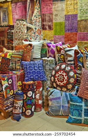 Turkish traditional cushions on grand bazaar Istanbul  - stock photo