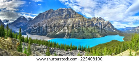 Turquoise lake on Icefield road, Canada - stock photo