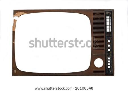 tv frame on white background - stock photo