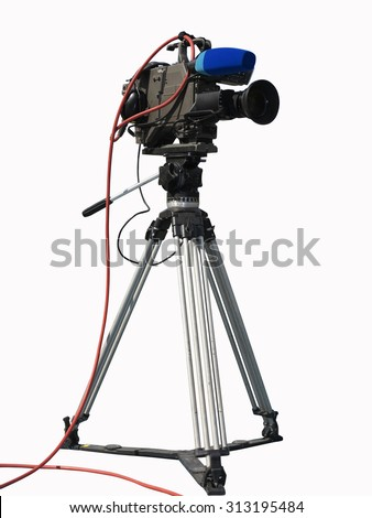 TV Professional studio digital video camera on tripod isolated over white background - stock photo