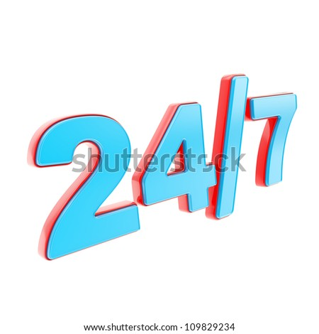 24/7 twenty four hour seven days a week glossy red and blue plastic emblem icon isolated on white background