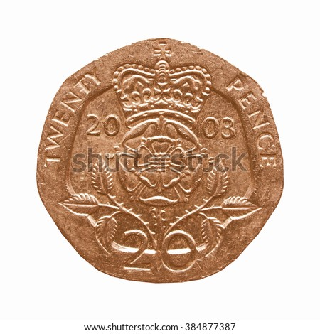 Twenty Pence coin isolated over white background vintage