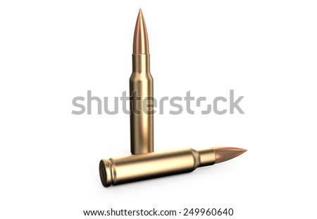 two bullets isolated on white background - stock photo