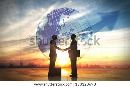 Two business man shake hand silhouettes city with global rendered with computer graphic. - stock photo
