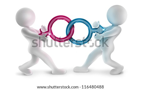 two 3d characters pulling male and female gender symbols - stock photo