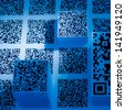 two-dimension code QR?Quick Response?code blue  science and technology wallpaper  background - stock photo