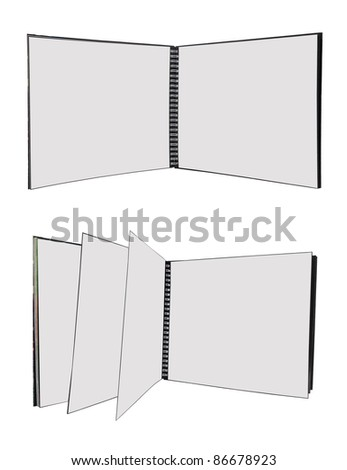 Two empty spiral books isolated on white background - stock photo