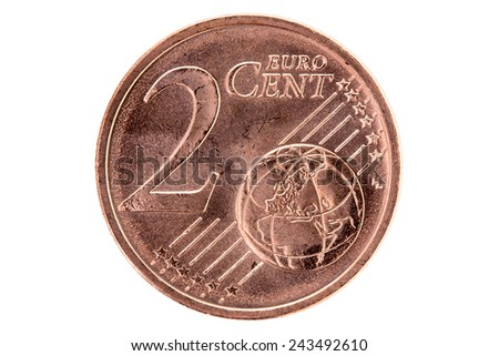 Two euro cent isolated on white background - stock photo