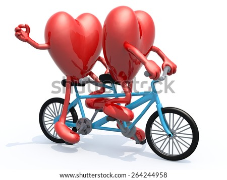 two hearts with arms and legs riding tandem bicycle, 3d illustration - stock photo