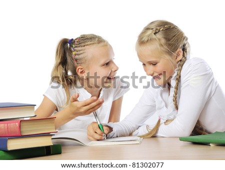 Two little girls learning