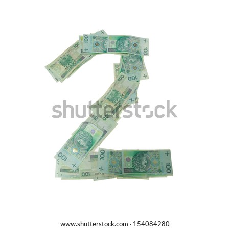 2 - two number character- isolated with clipping patch on white background. Letter made of Polish hundred zlotys green bank notes - 100 PLN - stock photo