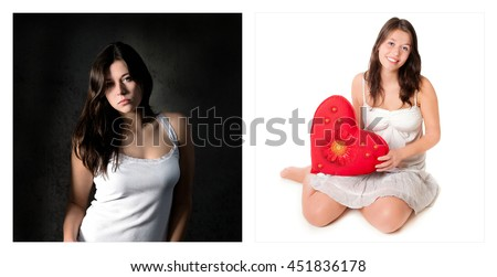 Two portraits of the same young girl. Emotion concept, left photo: sad and depressed, right photo: amorous and happy - stock photo