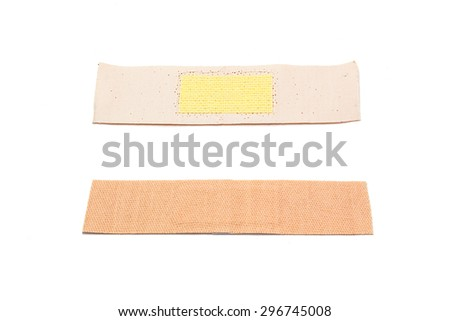 two side of band aid plaster, bandage isolated on white - stock photo