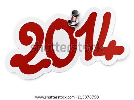 2014 (two thousand fourteen) red sticker fixed onto a white background by using a thumbtack.