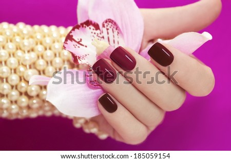 Two-tone manicure from light and dark cherry-red Polish on women's hand. - stock photo
