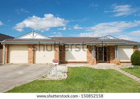 typical  facade of a modern australian suburban  house  at noon - stock photo