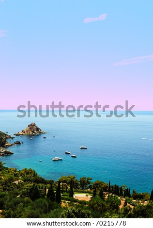 Typical Italian Seascape With Hills And Indented Coastline, Sunset - stock photo