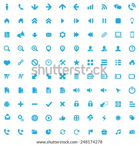 100 UI Outline For Web and Mobile icons, blue on white background  - stock photo