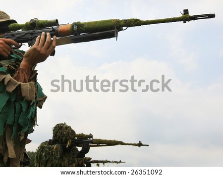 Ukrainian special troops soldiers  pass maroon berets exam' - stock photo