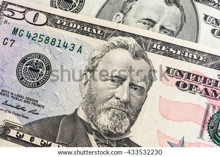 """Ulysses S. Grant"" face on US fifty or 50 dollars bill macro, united states money closeup"