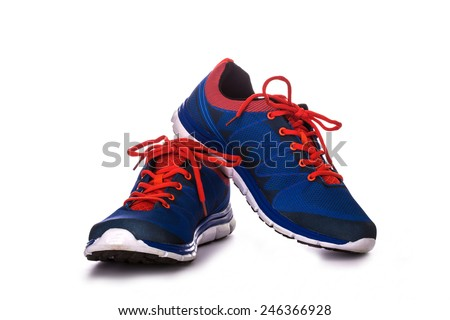 Unbranded running shoe, sneaker or trainer isolated on white - stock photo