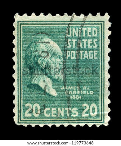 UNITED STATES OF AMERICA - CIRCA 1938: a stamp printed in the United States of America shows James A. Garfield, 20th President of USA 1881, circa 1938