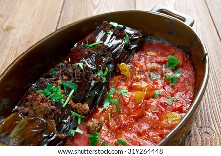 Urfa Patl�±can Kebab�± - Beli k�±r�±k - Turkish stuffed eggplant - stock photo