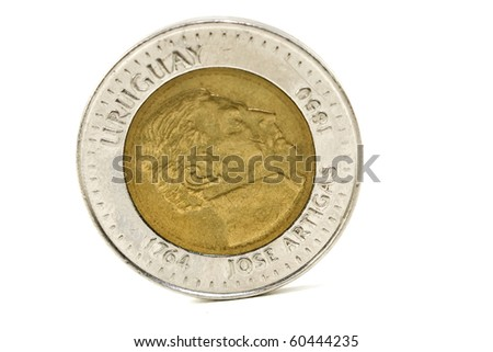 $ 10 uruguayan coin over white background