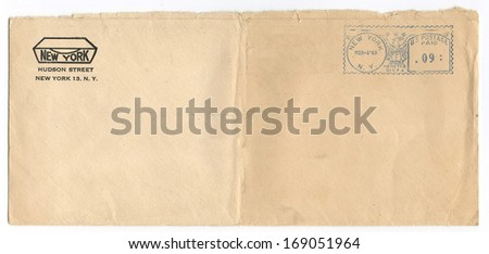 US - CIRCA 1949: Vintage envelope postmarked 4 Mar 1949, New York, New York, circa 1949 - stock photo