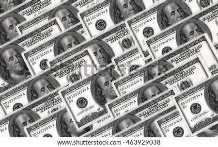 100 US dollar banknote on oil painting style