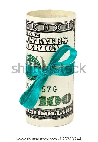 100 US dollar wrapped by ribbon over white background - stock photo