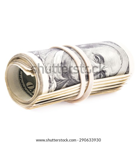 100 US dollars banknotes rolled up and tightened with rubber band isolated on white background - stock photo
