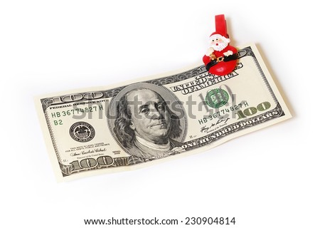 100 USA dollar banknote and Christmas decoration  - stock photo