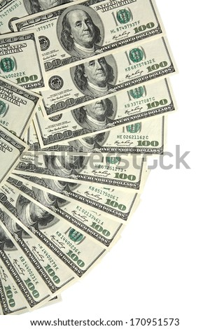 100 USA dollars bank notes fanned out on white / studio photography of american national currency of hundred dollar isolated on white background