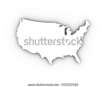 USA map in white. High quality illustration. - stock photo
