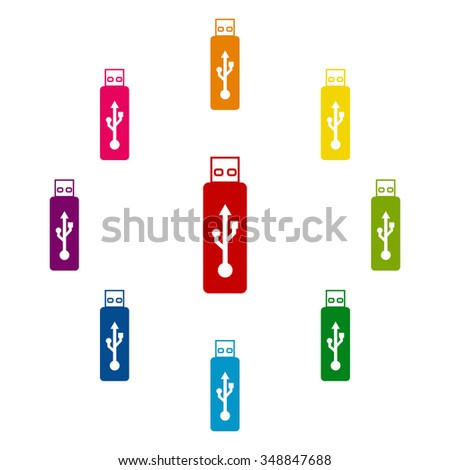usb flash drive icon - stock photo