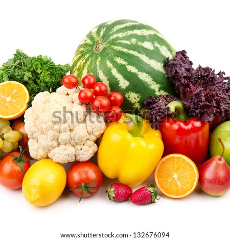 useful set of fruits and vegetables - stock photo