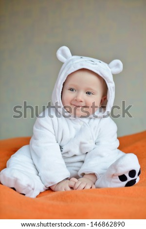 ����ute baby boy wearing costume of polar bear