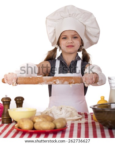 ���¡ute little girl baking on kitchen and shows rolling-pin, isolated on a white background