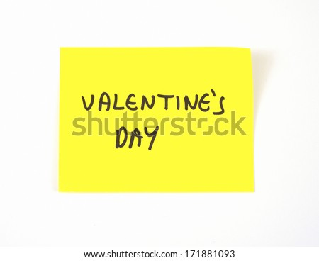 'Valentine's Day' written on a yellow sticky note